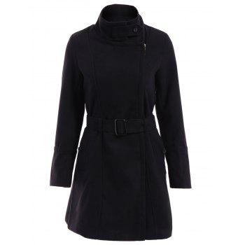 Stylish Long Sleeves Stand Collar Pocket Design Women's Coat
