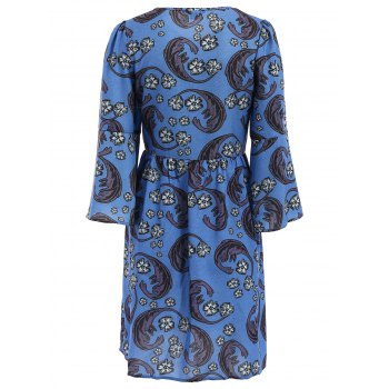 Vintage Style Round Collar Flare Sleeve Floral Print Loose-Fitting Women's Dress - BLUE BLUE