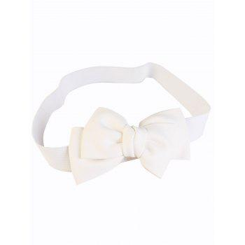 Buy Chic Big Bowknot Wide Elastic Belt WHITE