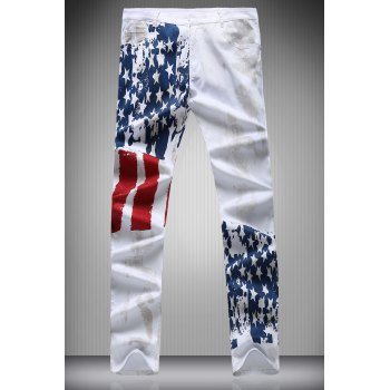 Star and Stripe Print Zipper Fly Narrow Feet Men's Pencil Pants - WHITE WHITE