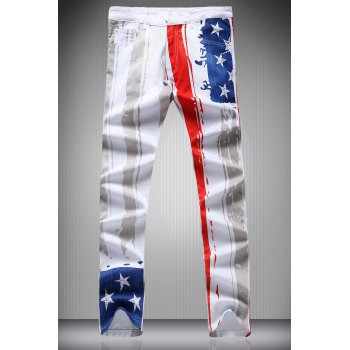 Star and Vertical Stripe Print Zipper Fly Narrow Feet Men's Pencil Pants