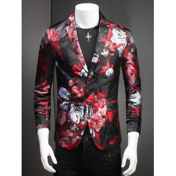 Fashion Flower Print Notched Lapel Collar Long Sleeves Blazer For Men