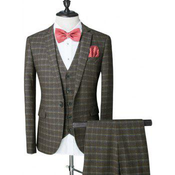 Plaid Pattern Single Breasted Lapel Long Sleeve Men's Three-Piece Suit ( Blazer + Waistcoat + Pants )