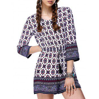 Drawstring Tribal Print Pants Romper