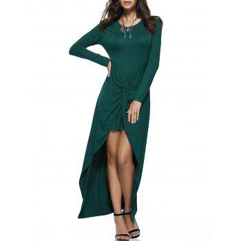 Graceful Front Twisted Pure Color Asymmetric Dress