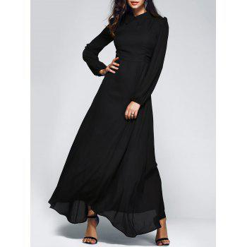 Bohemian Flat Collar Pure Color Full Maxi Dress