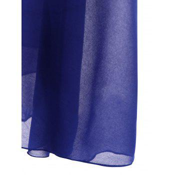 Chic Style See-Through Solid Color Jewel Neck Sleeveless Dress For Women - BLUE BLUE