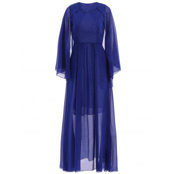 Chic Style See-Through Solid Color Jewel Neck Sleeveless Dress For Women - BLUE M