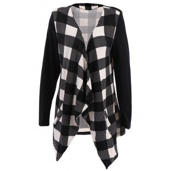 Stylish Long Sleeve Plaid Splicing Turn-Down Collar Jacket