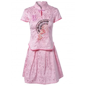 Chinoiserie Embroidered Top and Jacquard Skirt Set For Women - PINK M