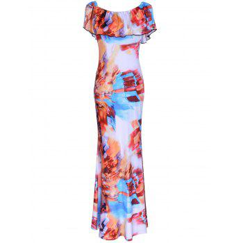 Flounce Colorful Printed Dress