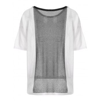 Simple Design Striped Splicing Knitted Tee - WHITE ONE SIZE