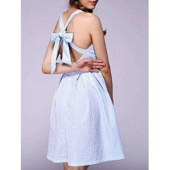 Sweet Bowknot Backless Skater Dress