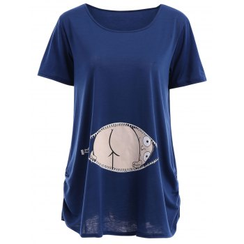 Cute Short Sleeve Round Neck Zipper Pattern Cartoon Print Women's T-Shirt