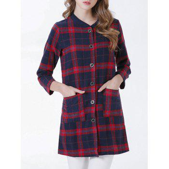 Chic Buttoned Pocket Design Plaid Women's Coat