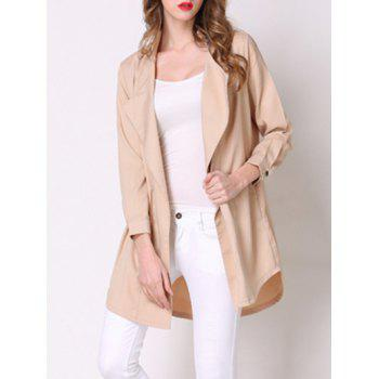 Chic Pocket Design Loose-Fitting Solid Color Women's Thin Coat