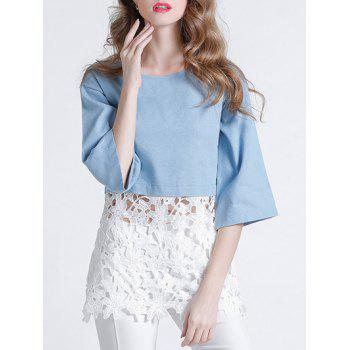 Sweet 3/4 Sleeve Lace Splicing Hollow Out Women's Blouse