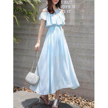 Chiffon Cold Shoulder Flounce Swing Wedding Guest Maxi Dress