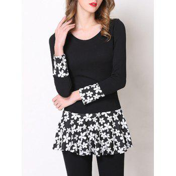 Stylish Floral Pattern Spliced Peplum Women's T-Shirt