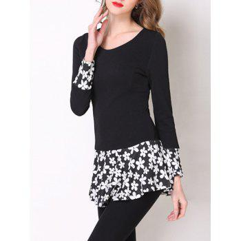 Stylish Floral Pattern Spliced Peplum Women's T-Shirt - BLACK S