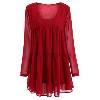 Women's Scoop Neck Long Sleeve Red Pleated Dress - RED RED
