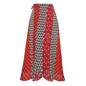 Geometric Pattern Strappy Maxi Skirt