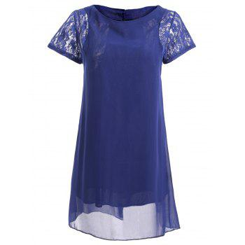 Lace Spliced Short Sleeve Round Neck Chiffon Dress