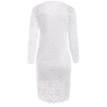Lace Tight Homecoming Dress with Sleeves - WHITE XL