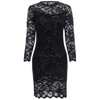 Sweet Hollow Out Round Neck 3/4 Sleeve Lace Dress