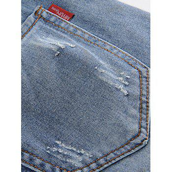 Plus Size Trendy Beading Studded Jeans - BLUE 36