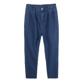 Plus Size Casual Back Pockets Striped Jeans