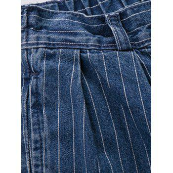 Plus Size Casual Back Pockets Striped Jeans - BLUE 32