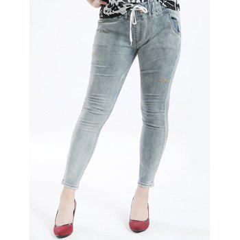 Plus Size Casual Embrodered Drawstring Jeans