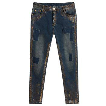 Plus Size Appliqued Spray Painting Jeans