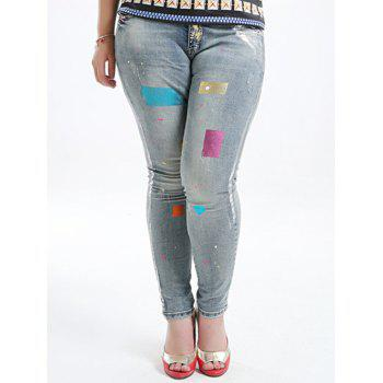Plus Size Five Pockets Gilding Jeans