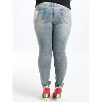 Plus Size Five Pockets Gilding Jeans - BLUE GRAY 34