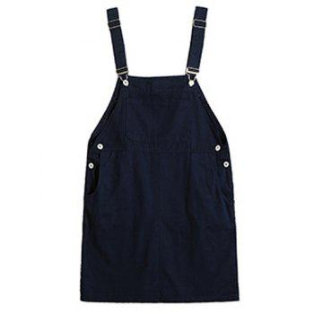 Plus Size Casual Button Up Side Overall Dress