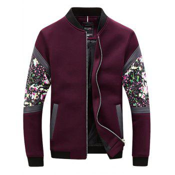 Floral Spliced Zip Up Stand Collar Long Sleeve Jacket