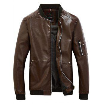 Rib Trim Zippered Faux Leather Jacket