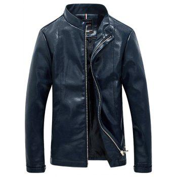 Solid Color Faux Leather Zip Up Stand Collar Men's Jacket