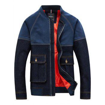 Topstitch Color Spliced Patch Pocket Men's Long Sleeve Jacket