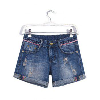 Plus Size Chic Stud Embellished Flanging Shorts