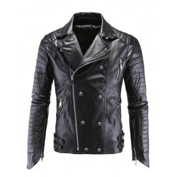 Skull Buckle Embellished Zippered Men's Faux Leather Jacket
