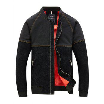 Topstitch Stand Collar Long Sleeve Men's Two Tone Jacket