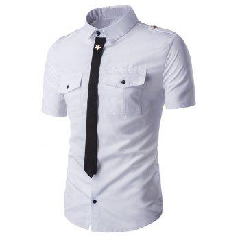 Epaulet Patch Pockets Faux Tie Men's Short Sleeve Shirt