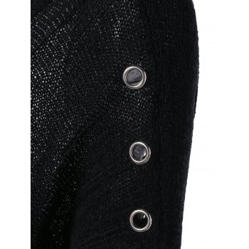 Mental Buckle Embellished Ripped Sweater - BLACK ONE SIZE