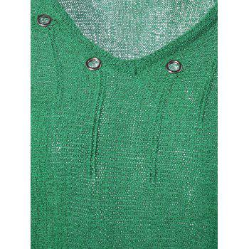 Mental Buckle Embellished Ripped Sweater - GREEN ONE SIZE