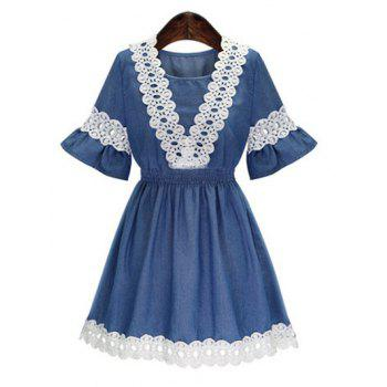 Bell Sleeves Lace Splicing Waisted Dress
