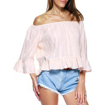 Buy Cute Solid Color Ruffles 3/4 Sleeve Off-The-Shoulder Blouse Women APRICOT