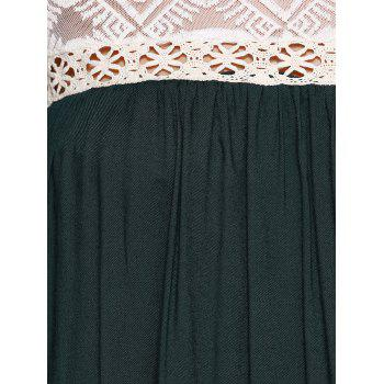 Loose-Fitting Scoop Neck See-through Lace Bell Sleeves Tunic Dress For Women - BLACKISH GREEN ONE SIZE(FIT SIZE XS TO M)